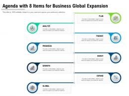 Agenda With 8 Items For Business Global Expansion