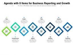 Agenda With 8 Items For Business Reporting And Growth