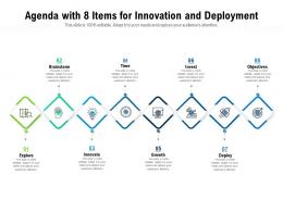 Agenda With 8 Items For Innovation And Deployment