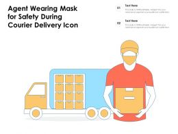 Agent Wearing Mask For Safety During Courier Delivery Icon