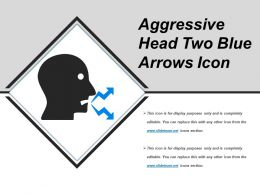 Aggressive Head Two Blue Arrows Icon