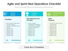 Agile And Sprint Best Operations Checklist