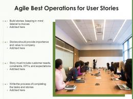 Agile Best Operations For User Stories