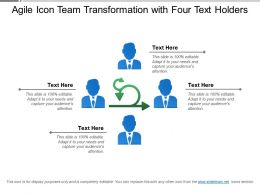 Agile Icon Team Transformation With Four Text Holders