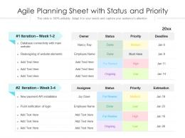 Agile Planning Sheet With Status And Priority