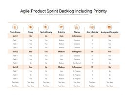 Agile Product Sprint Backlog Including Priority