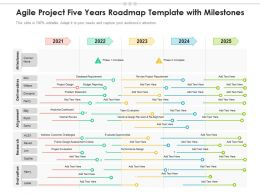 Agile Project Five Years Roadmap Template With Milestones