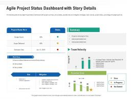 Agile Project Status Dashboard With Story Details Ppt Graphics