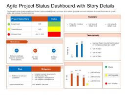 Agile Project Status Dashboard With Story Details Summary Ppt Professional