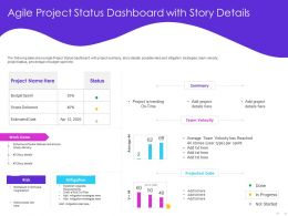Agile Project Status Dashboard With Story Details Trending Ppt Powerpoint Presentation Tips