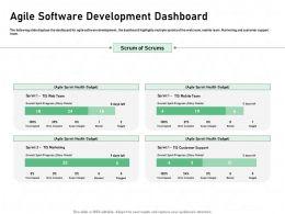 Agile Software Development Dashboard Scrums Ppt Powerpoint Presentation Ideas