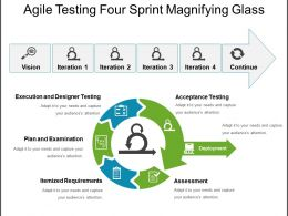 Agile Testing Four Sprint Magnifying Glass Powerpoint Templates