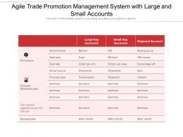 Agile Trade Promotion Management System With Large And Small Accounts