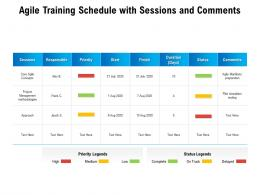 Agile Training Schedule With Sessions And Comments