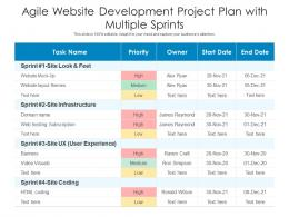 Agile Website Development Project Plan With Multiple Sprints
