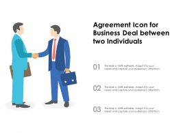 Agreement Icon For Business Deal Between Two Individuals