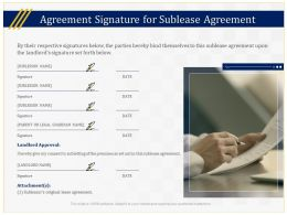 Agreement Signature For Sublease Agreement Ppt Powerpoint Presentation Slides Introduction