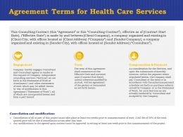 Agreement Terms For Health Care Services Ppt Powerpoint Presentation Summary Mockup