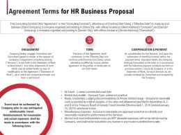 Agreement Terms For HR Business Proposal Ppt Powerpoint Presentation Model