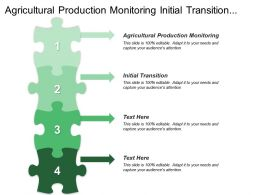 Agricultural Production Monitoring Initial Transition Food Security Database