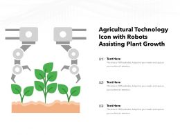 Agricultural Technology Icon With Robots Assisting Plant Growth