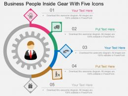 ah Business People Inside Gear With Five Icons Flat Powerpoint Design