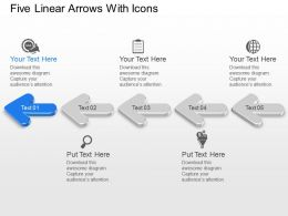 Ah Five Linear Arrows With Icons Powerpoint Template
