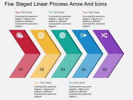 ah Five Staged Linear Process Arrow And Icons Flat Powerpoint Design