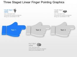 Ah Three Staged Linear Finger Pointing Graphics Powerpoint Template Slide