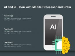 AI And IoT Icon With Mobile Processor And Brain