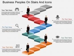 ai Business Peoples On Stairs And Icons Flat Powerpoint Design