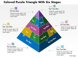 Ai Colored Puzzle Triangle With Six Stages Powerpoint Templets