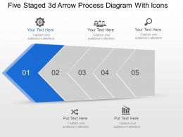 Ai Five Staged 3d Arrow Process Diagram With Icons Powerpoint Template