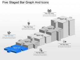 ai Five Staged Bar Graph And Icons Powerpoint Template