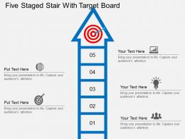 ai Five Staged Stair With Target Board Flat Powerpoint Design