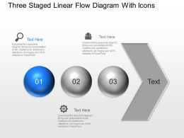 Ai Three Staged Linear Flow Diagram With Icons Powerpoint Template Slide