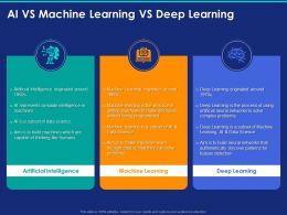 AI Vs Machine Learning Vs Deep Learning Ppt Powerpoint Presentation Icon