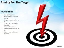 aiming for the target bullseye with lightning zap slides diagrams templates powerpoint info graphics