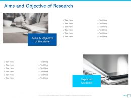 Aims And Objective Of Research Outcome Ppt Powerpoint Presentation File Design Templates