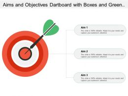 Aims And Objectives Dartboard With Boxes And Green Arrow