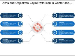 Aims And Objectives Layout With Icon In Center And Diverging Boxes