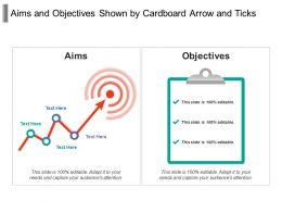 Aims And Objectives Shown By Cardboard Arrow And Ticks
