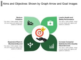 Aims And Objectives Shown By Graph Arrow And Goal Images