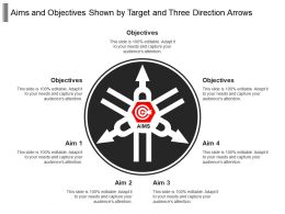 Aims And Objectives Shown By Target And Three Direction Arrows