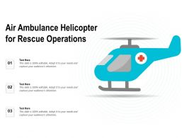 Air Ambulance Helicopter For Rescue Operations