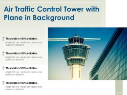 Air Traffic Control Tower With Plane In Background
