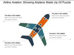 Airline Aviation Showing Airplane Made Up Of Puzzle