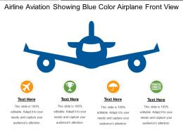 Airline Aviation Showing Blue Color Airplane Front View