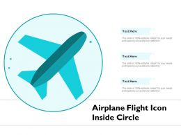 Airplane Flight Icon Inside Circle