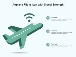 Airplane Flight Icon With Signal Strength